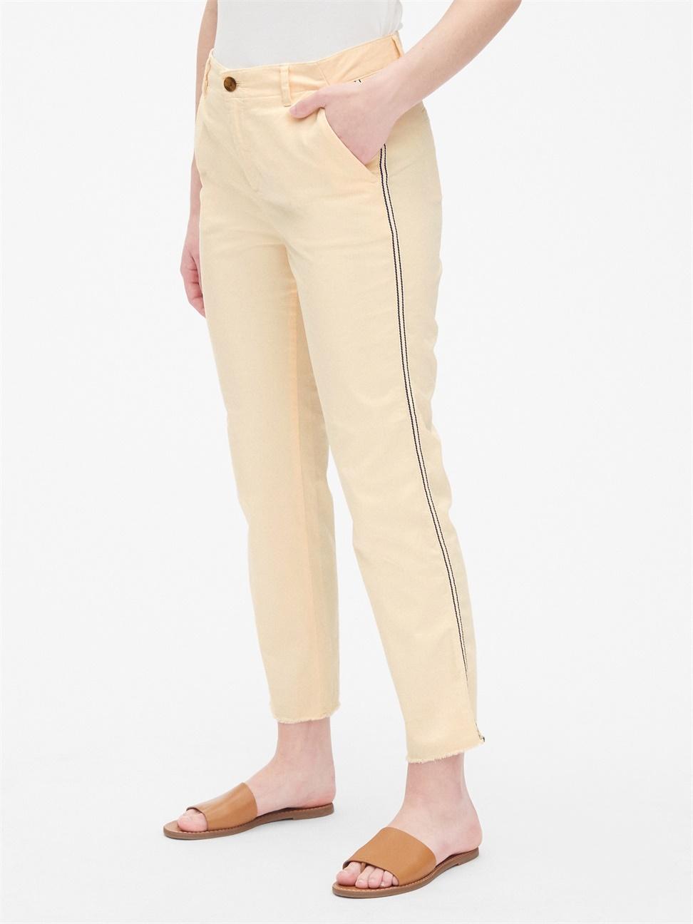 女裝 斜紋布條紋男友風毛邊褲腳卡其褲