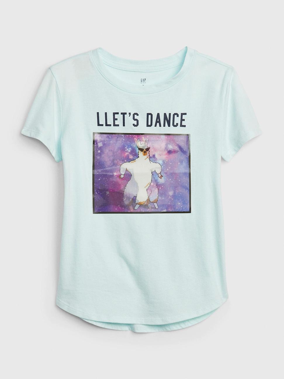 女童 創意圖案圓領短袖T恤