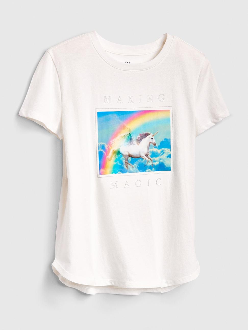 女童 甜美風格圖案短袖T恤