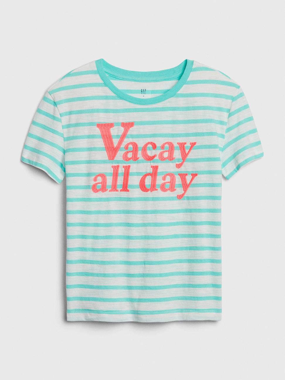 女童 復古條紋字母圓領短袖T恤