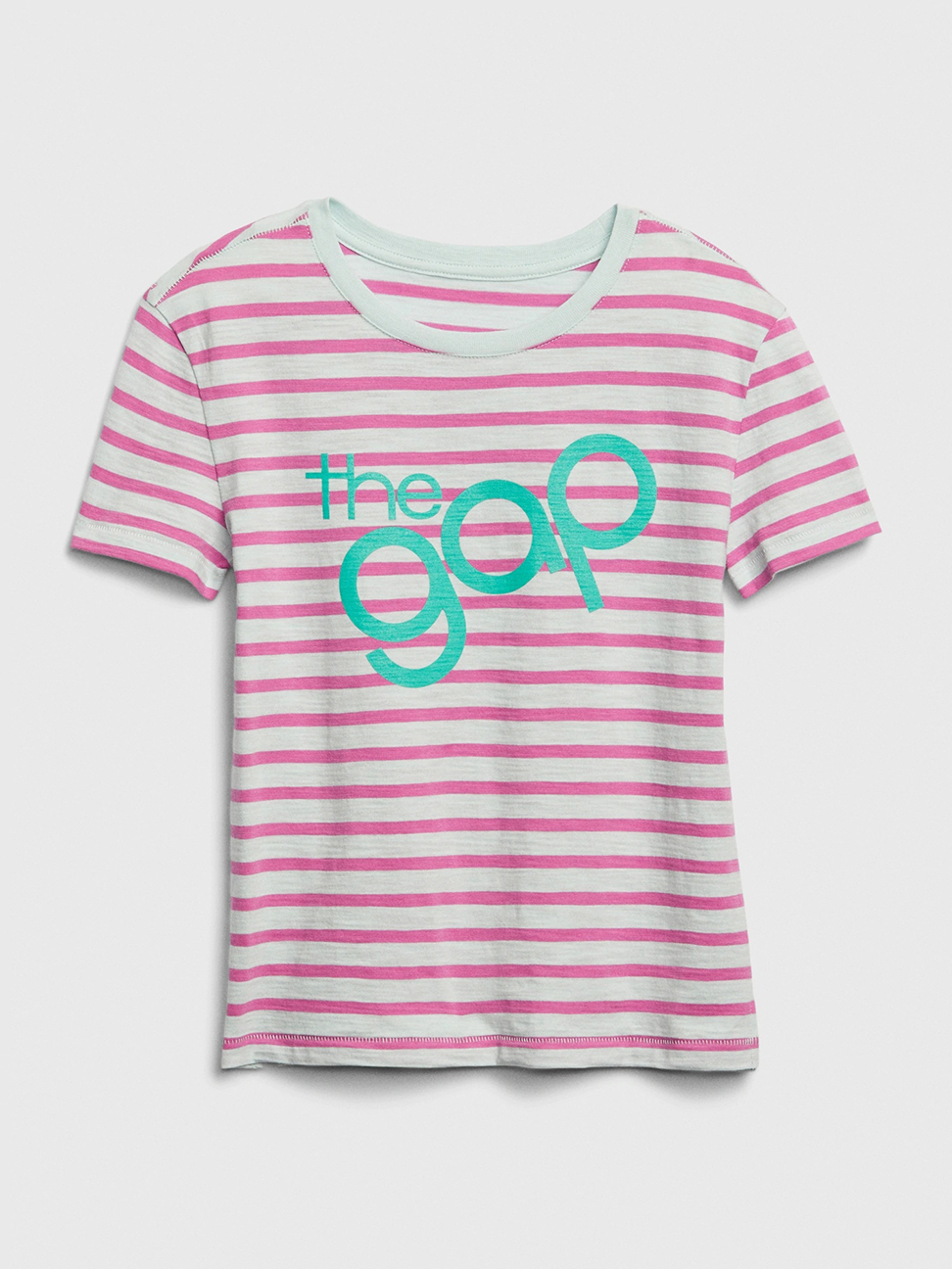 女童 Logo圓領條紋短袖T恤