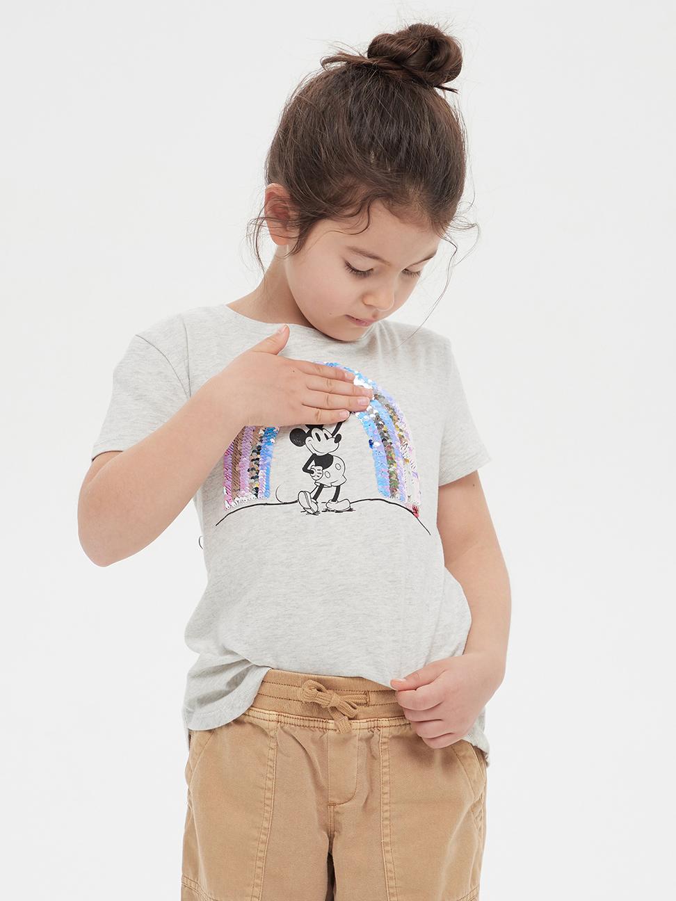 女童 Gap x Disney 迪士尼系列可撥動亮片圓領短袖T恤