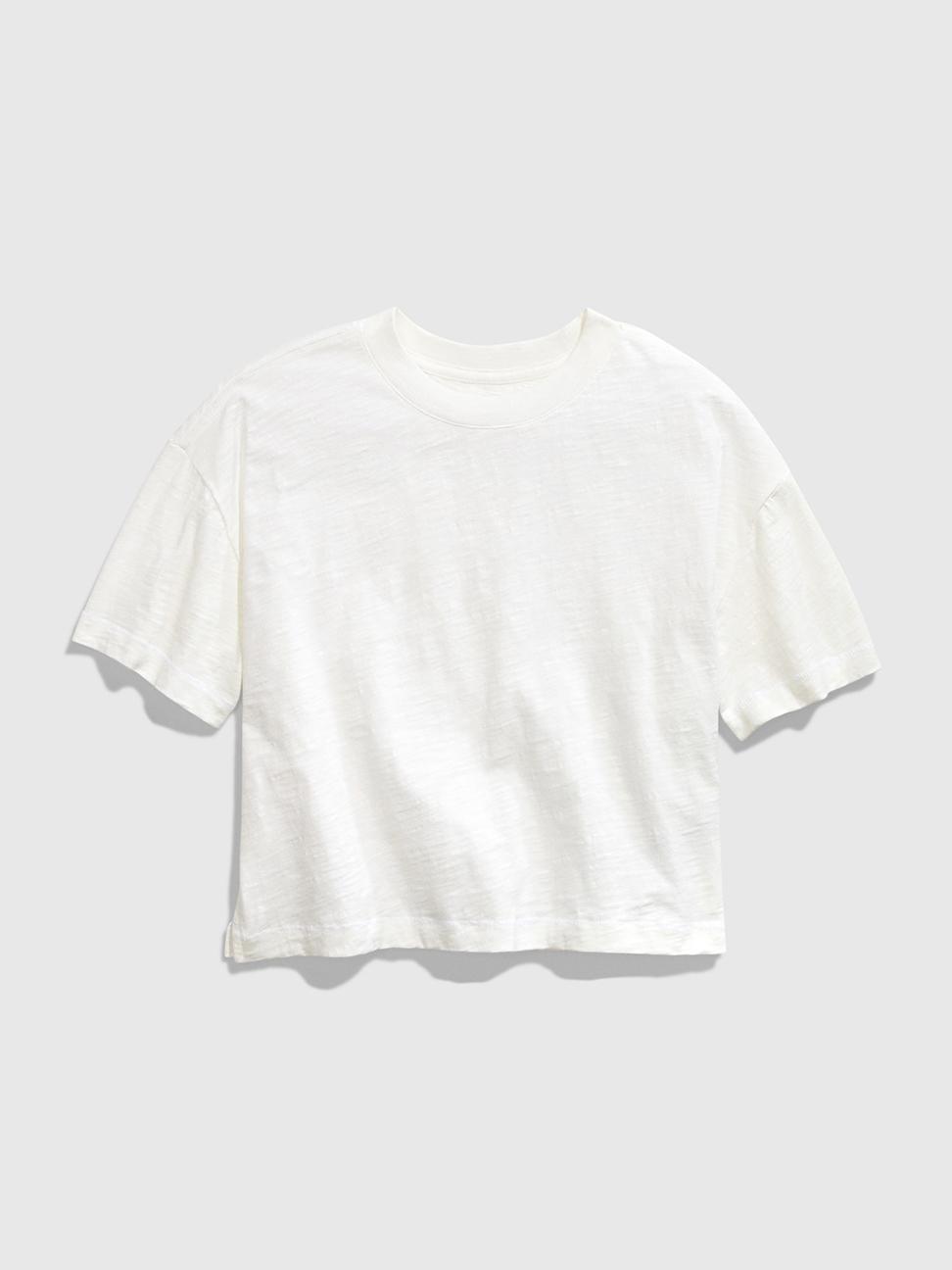 女童 棉質純色圓領短袖T恤