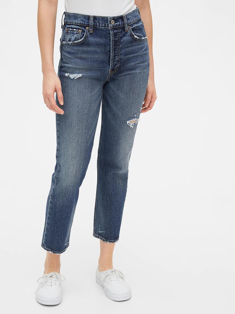 女裝 時尚水洗做舊破洞五口袋牛仔褲