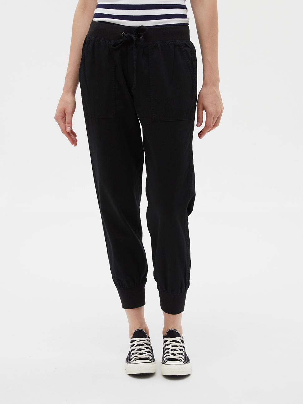 女裝 棉質純色鬆緊寬鬆休閒褲