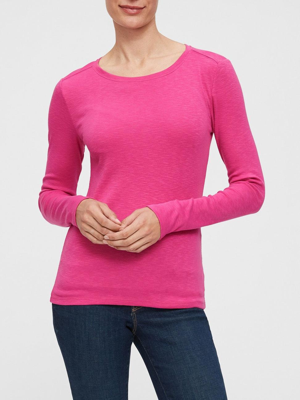 女裝 活力亮色圓領針織長袖T恤