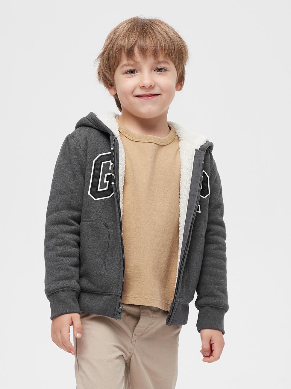 幼童 Logo仿羊羔絨連帽休閒外套