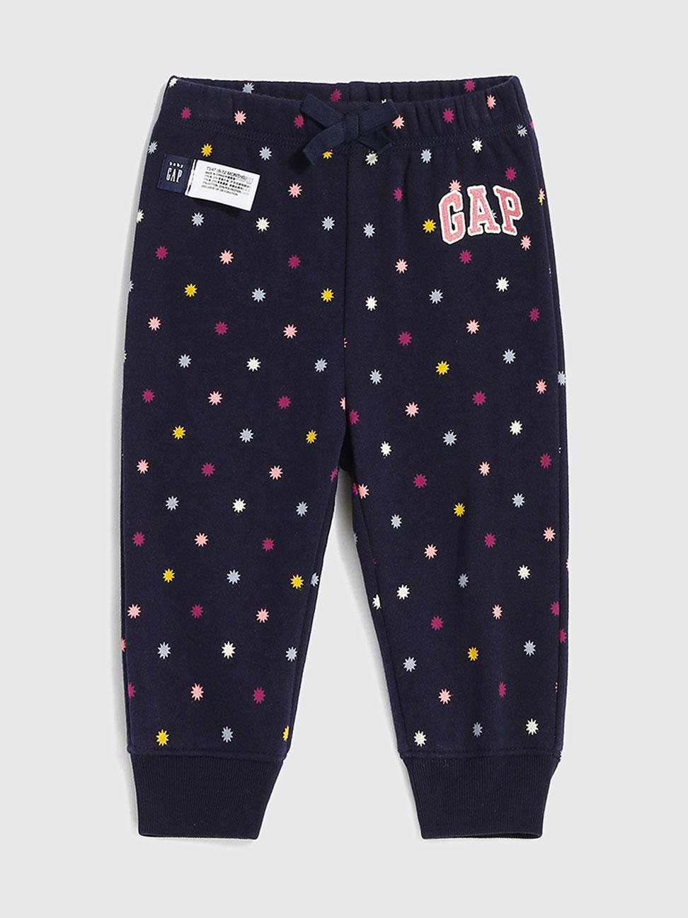 嬰兒 Logo可愛印花鬆緊針織褲