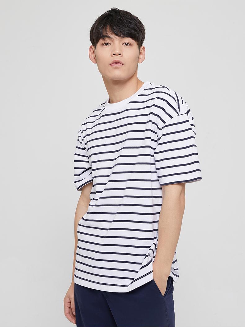 男裝 棉質厚磅舒適條紋短袖T恤