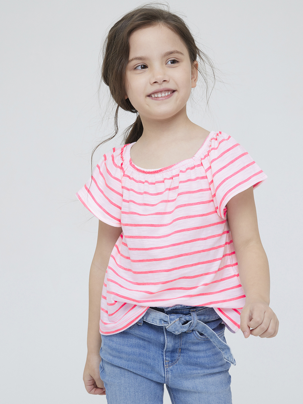 女童 可愛條紋圓領短袖T恤