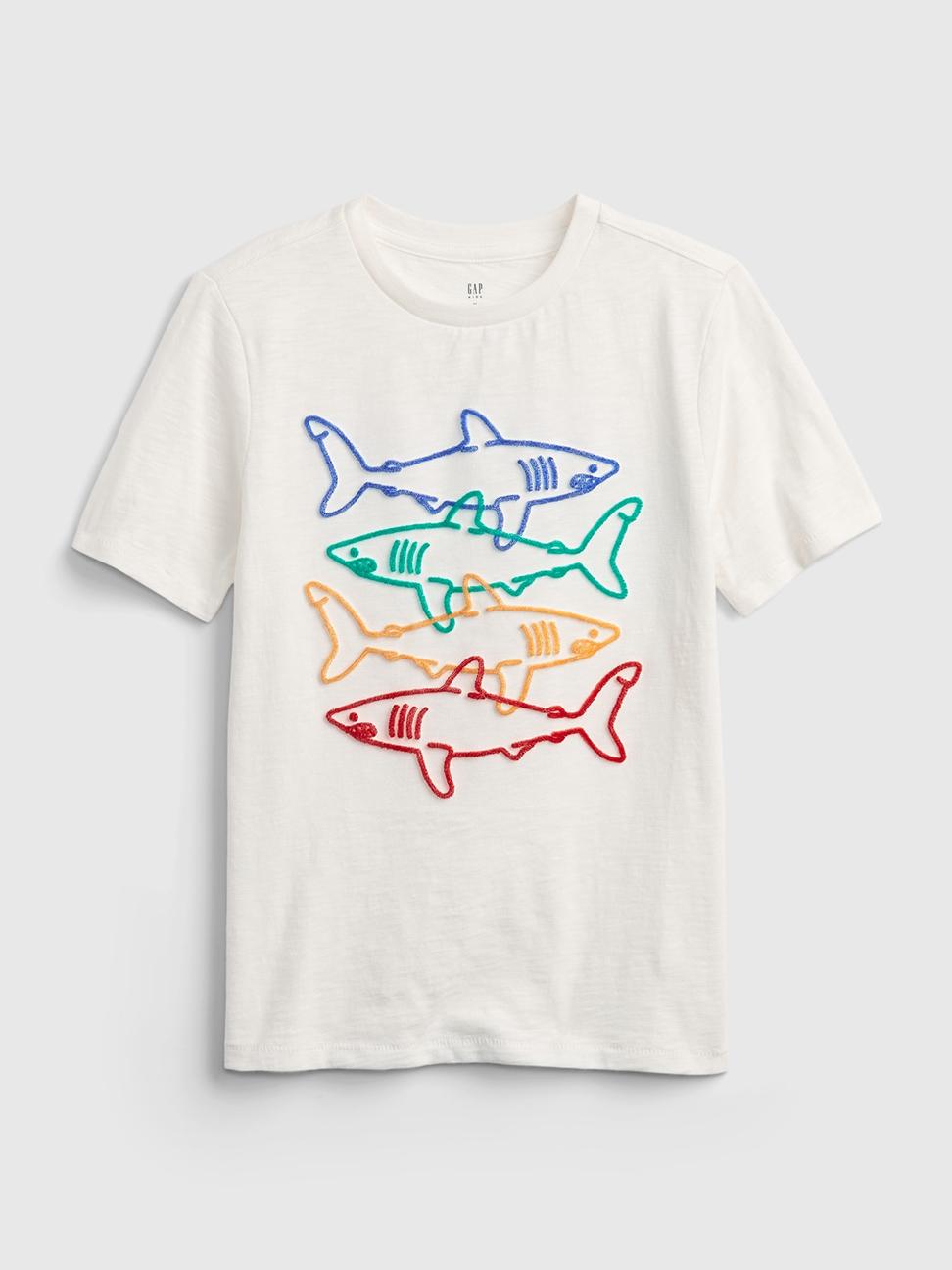 男童 純棉立體植絨印花短袖T恤