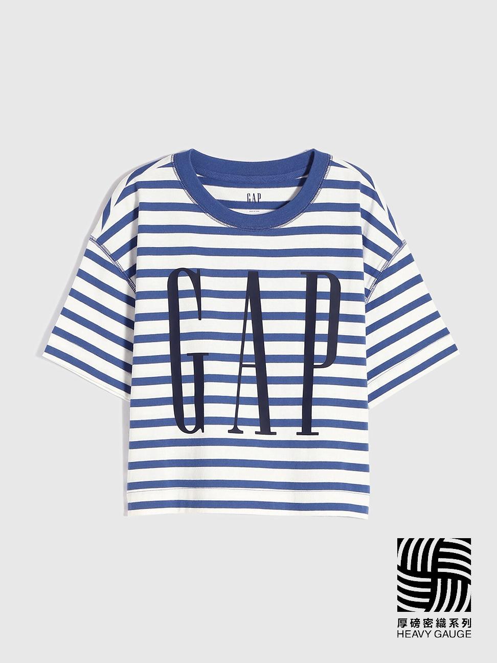 女童 Logo條紋圓領短袖T恤